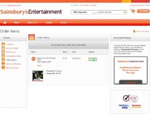 A screen shot of the Sainsbury's Entertainment website