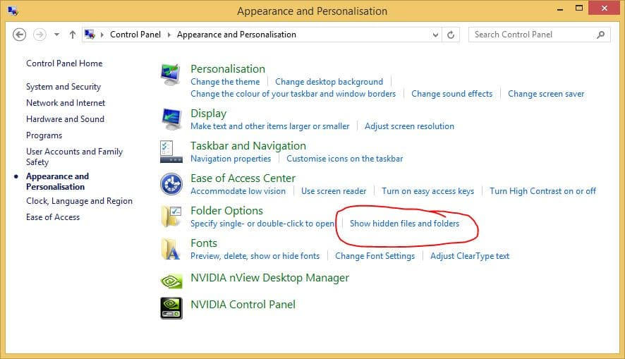 Windows 8 Control Panel Show Hidden Files and Folders