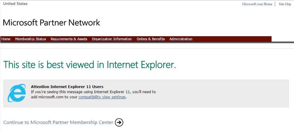Website Best Viewed in Internet Explorer 11
