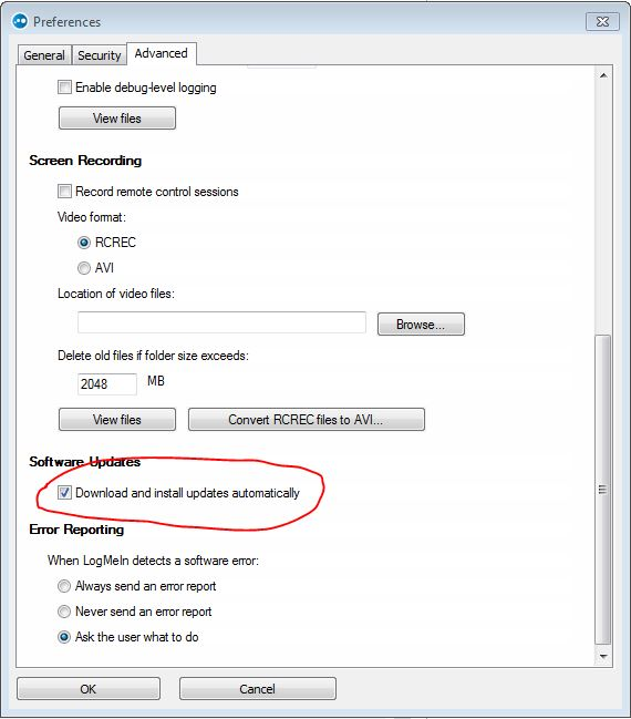 LogMeIn Preferences Disable Updates