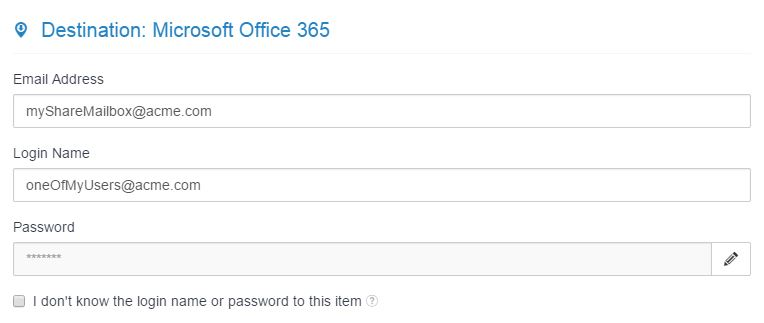 MigrationWiz Shared Mailbox Office 365